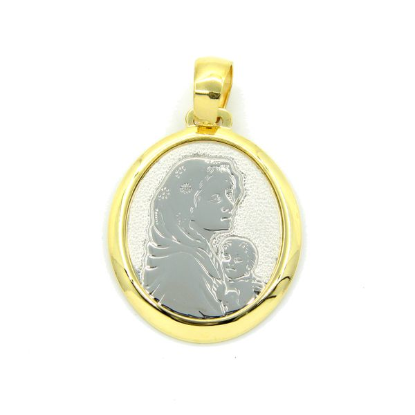 18k Two Tone Mother and Child Medal Arezzo Jewelers Chicago, IL