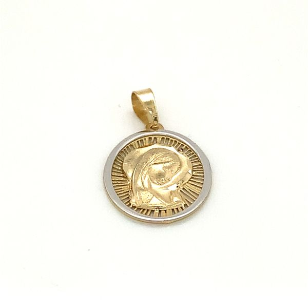18 Karat Two Tone Gold Virgin Mary Medal Image 2 Arezzo Jewelers Chicago, IL
