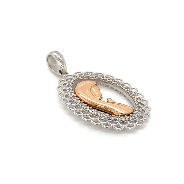 18K Rosé and White Gold Praying Mary Medal with CZ's Image 3 Arezzo Jewelers Chicago, IL
