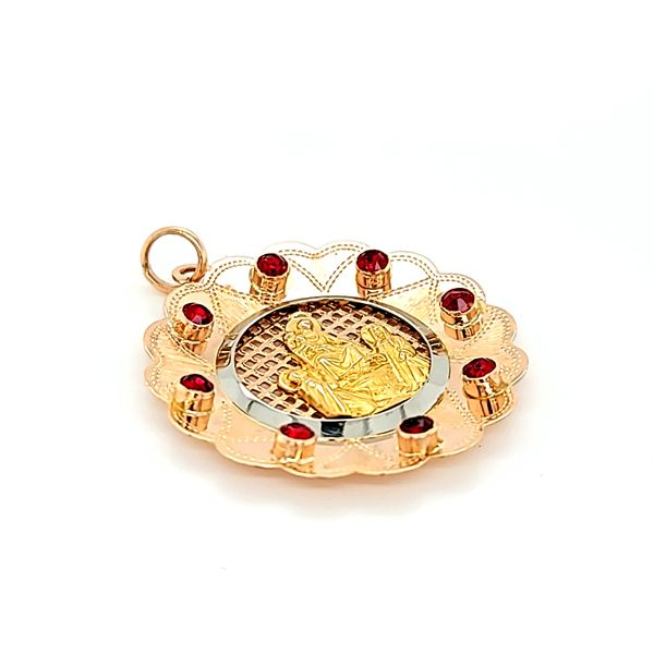18k Yellow Gold Lady of Pompeii Medal with red rhinestones. Image 2 Arezzo Jewelers Elmwood Park, IL