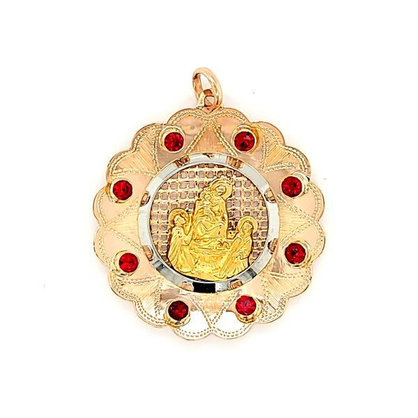 18k Yellow Gold Lady of Pompeii Medal with red rhinestones. Arezzo Jewelers Elmwood Park, IL