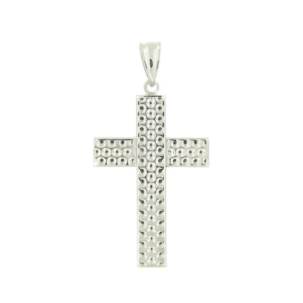 14k White Gold Beaded Cross Arezzo Jewelers Chicago, IL