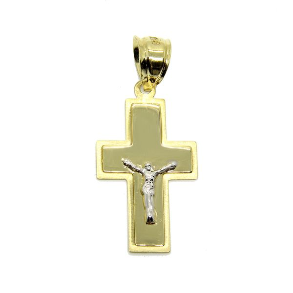 14k Two Tone Gold Mirrored Crucifix Arezzo Jewelers Chicago, IL