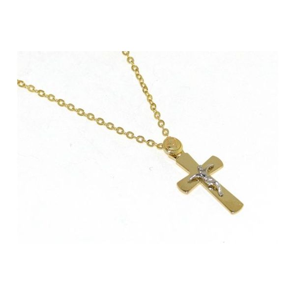 18k Two Tone Cross with 18