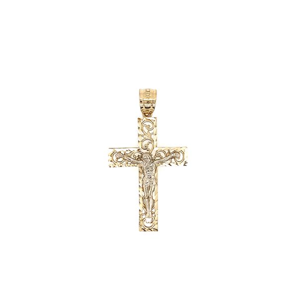14k Two Tone Filigree Design Crucifix Cross Arezzo Jewelers Chicago, IL
