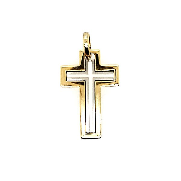 18k Two Tone Solid Cross Arezzo Jewelers Chicago, IL