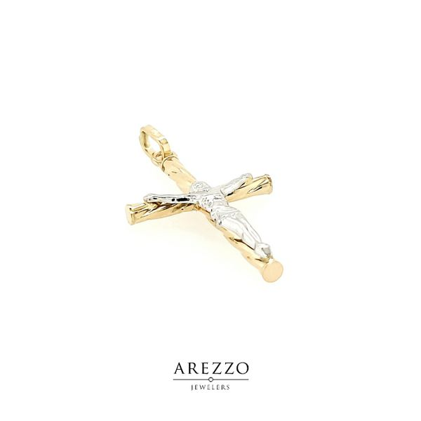 18k Two Tone Gold Crucifix Image 2 Arezzo Jewelers Chicago, IL