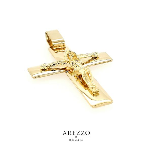 18k Yellow Gold Large Crucifix Image 2 Arezzo Jewelers Chicago, IL