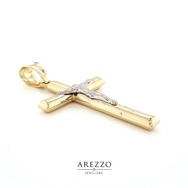 14k Two Tone Crucifix Image 2 Arezzo Jewelers Chicago, IL