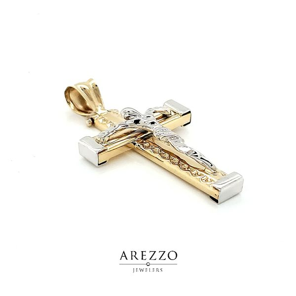 14k Two Tone Gold Modern Crucifix Image 2 Arezzo Jewelers Chicago, IL