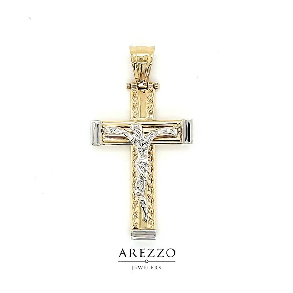 14k Two Tone Gold Modern Crucifix Arezzo Jewelers Chicago, IL
