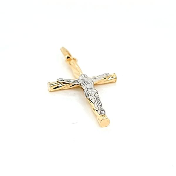 18k Two Tone Gold Crucifix Image 3 Arezzo Jewelers Chicago, IL