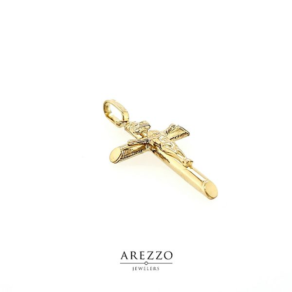18k Yellow Gold Crucifix - INRI Image 2 Arezzo Jewelers Chicago, IL