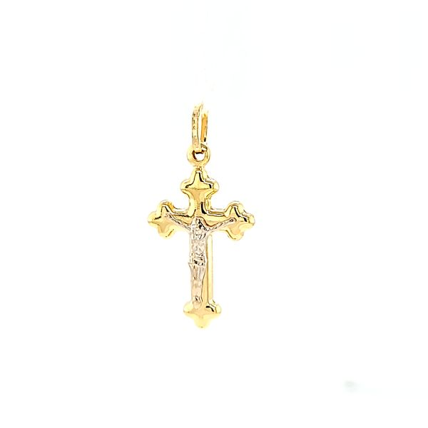 18k Two Tone Gold Budded Crucifix Arezzo Jewelers Chicago, IL