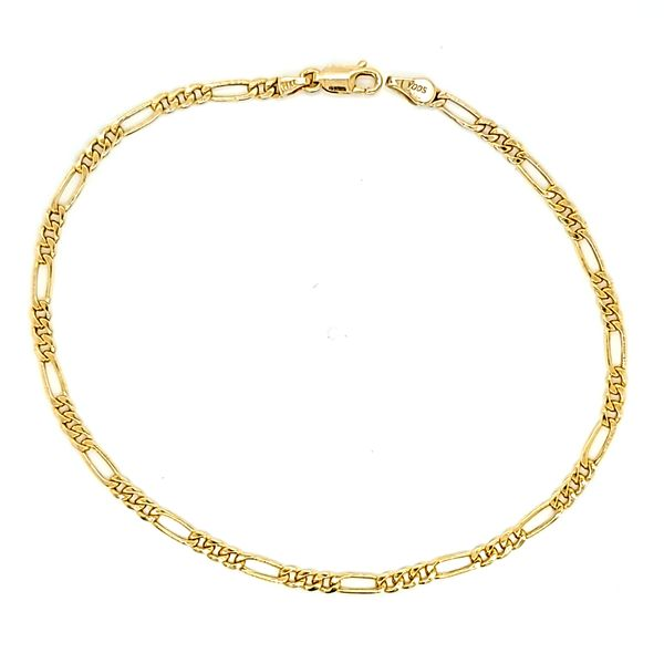 14K Yellow Gold 3mm Figaro Link Anklet Arezzo Jewelers Elmwood Park, IL