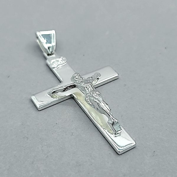 Sterling Silver Solid Crucifix / Cross Image 2 Arezzo Jewelers Chicago, IL