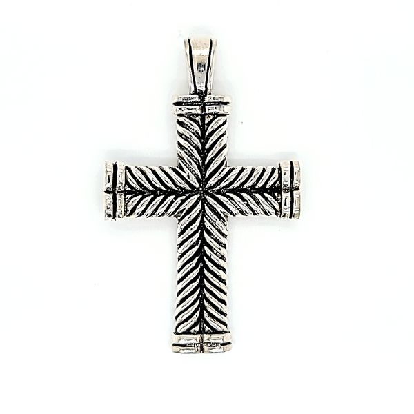Sterling Silver Antique Finish Solid Cross Pendant Arezzo Jewelers Elmwood Park, IL