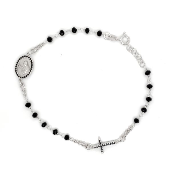 Sterling Silver Black CZ Beaded Rosary Bracelet Arezzo Jewelers Chicago, IL