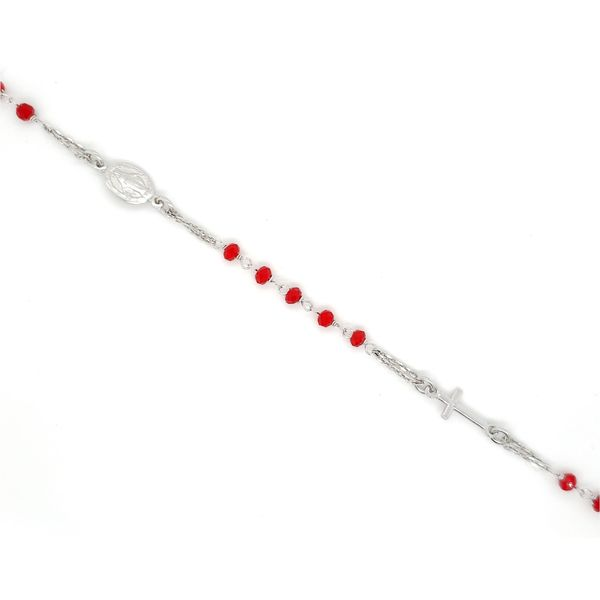 Sterling Silver Red Beaded Rosary Bracelet Image 2 Arezzo Jewelers Chicago, IL