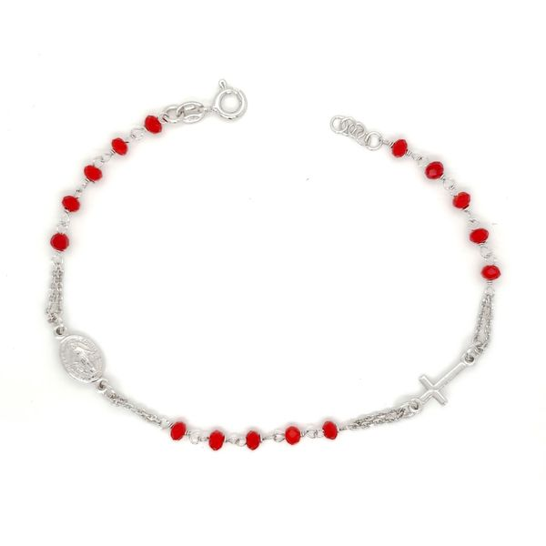 Sterling Silver Red Beaded Rosary Bracelet Arezzo Jewelers Chicago, IL