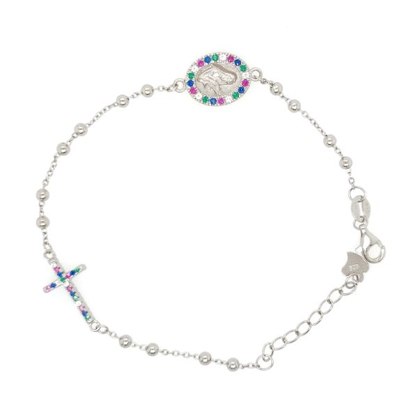 Silver Multicolor Beaded Rosary Bracelet Arezzo Jewelers Chicago, IL