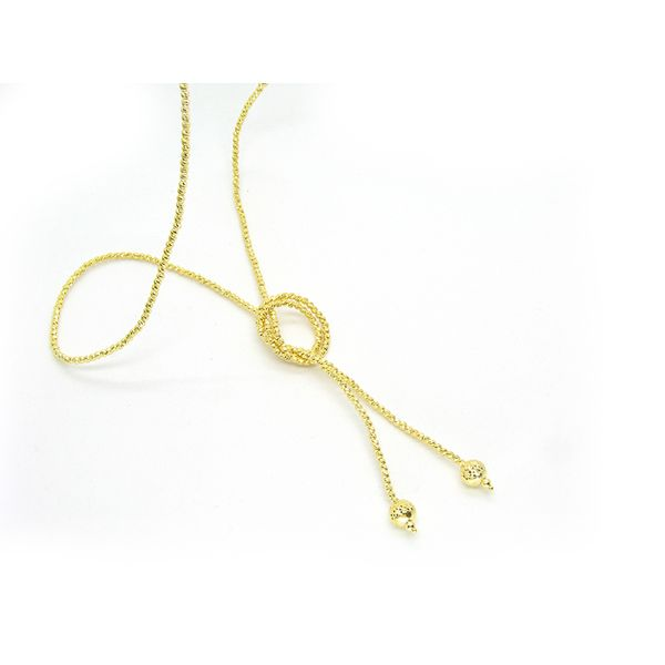 Silver Slash-cut Endless Yellow Lariat Necklace Image 2 Arezzo Jewelers Chicago, IL