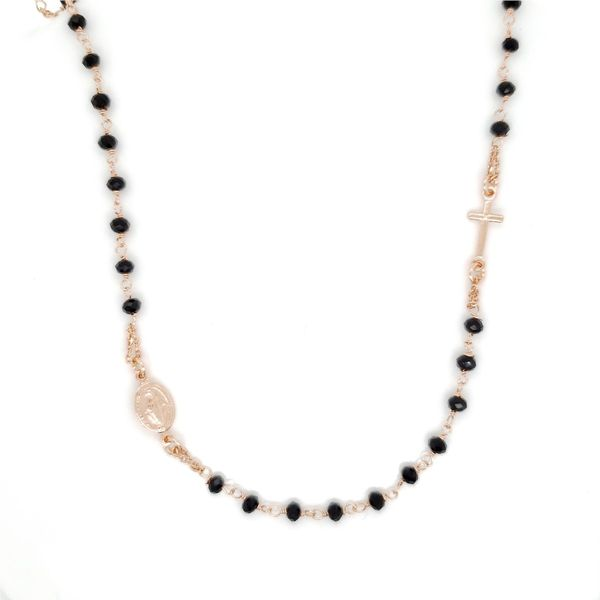Rose Gold Plated Silver Beaded Rosary Necklace Arezzo Jewelers Chicago, IL