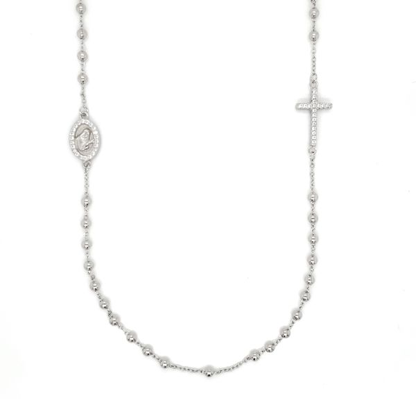 Silver White Beaded Rosary Silver Necklace Arezzo Jewelers Chicago, IL