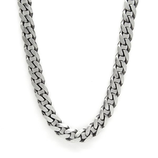 Antiqued Sterling Silver 9mm Heavy Curb Chain, 24