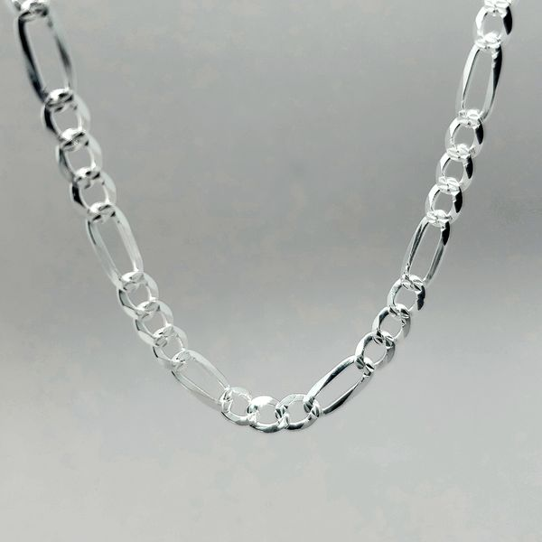 Silver 4mm Figaro Link Chain Image 2 Arezzo Jewelers Chicago, IL
