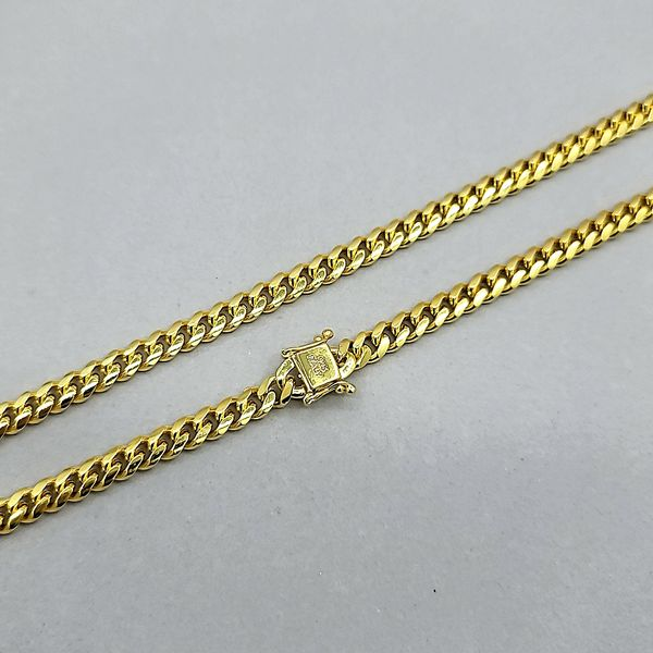 Gold Plated Silver 4.5mm Miami Cuban Chain Image 2 Arezzo Jewelers Chicago, IL