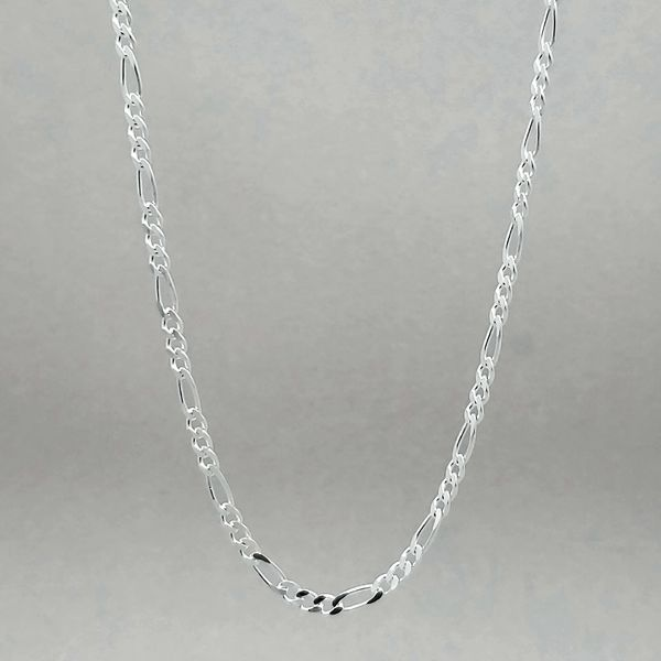 Silver Polished & Diamond Cut Figaro Chain Image 2 Arezzo Jewelers Chicago, IL