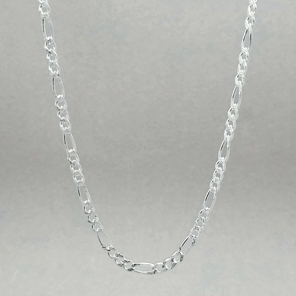 Silver Polished & Diamond Cut Figaro Chain Arezzo Jewelers Chicago, IL
