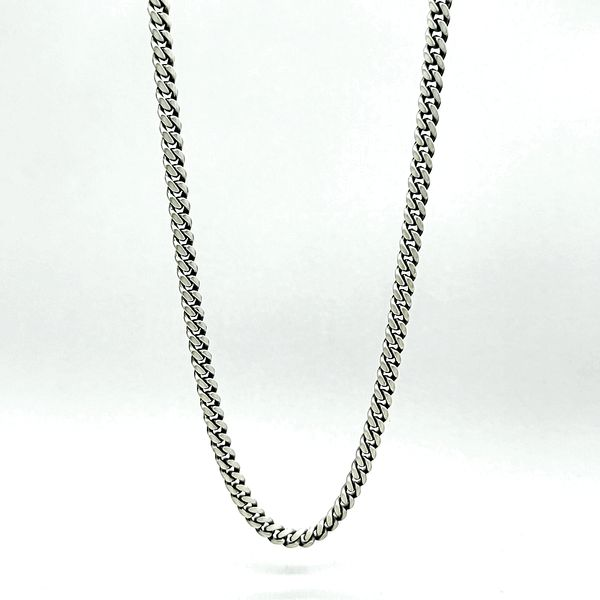 Sterling Silver  Brushed Antique Miami Cuban Chain, 26
