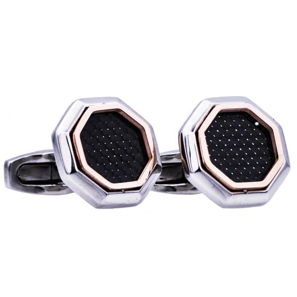 Rose Gold Plated Steel Cuff Links With Black Carbon Fiber Arezzo Jewelers Chicago, IL