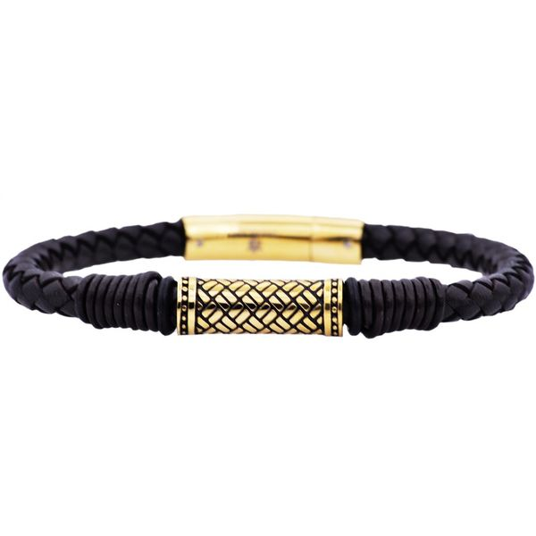 Black Leather Gold Plated Stainless Steel Bracelet Arezzo Jewelers Chicago, IL