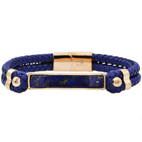 Genuine Lapis Lazuli And Navy Leather Rose Plated Stainless Steel Bracelet Arezzo Jewelers Chicago, IL