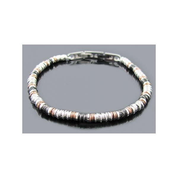 Chocolate And Black Plated Stainless Steel Chain Bracelet Image 2  ,