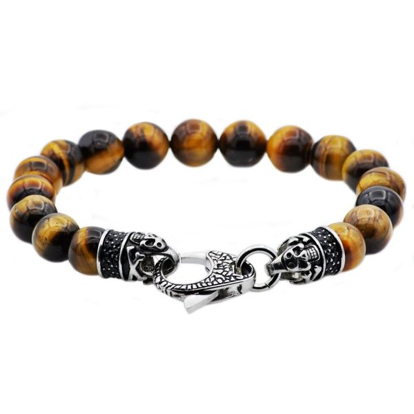 Brown Tiger Eye Stainless Steel Bracelet Arezzo Jewelers Chicago, IL