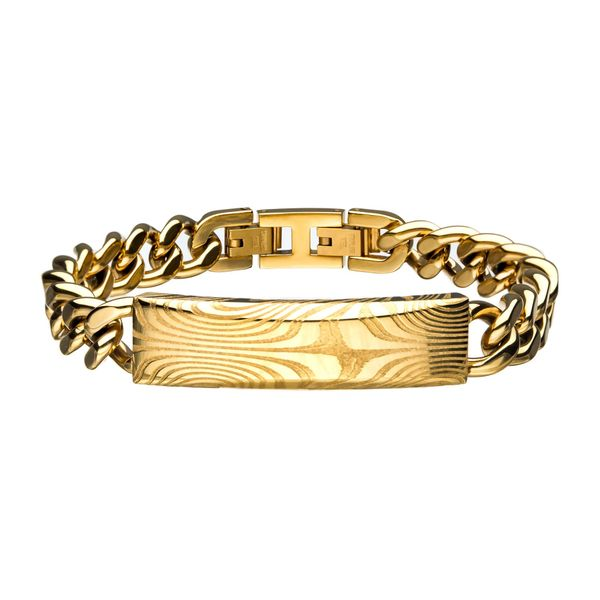 Damascus Steel Gold Plated ID with Curb Chain Bracelet Arezzo Jewelers Chicago, IL