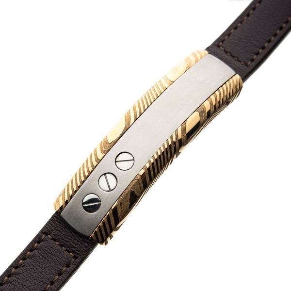 Damascus Steel Gold Plated ID and Head Screw with Brown Leather Bracelet. Image 2  ,