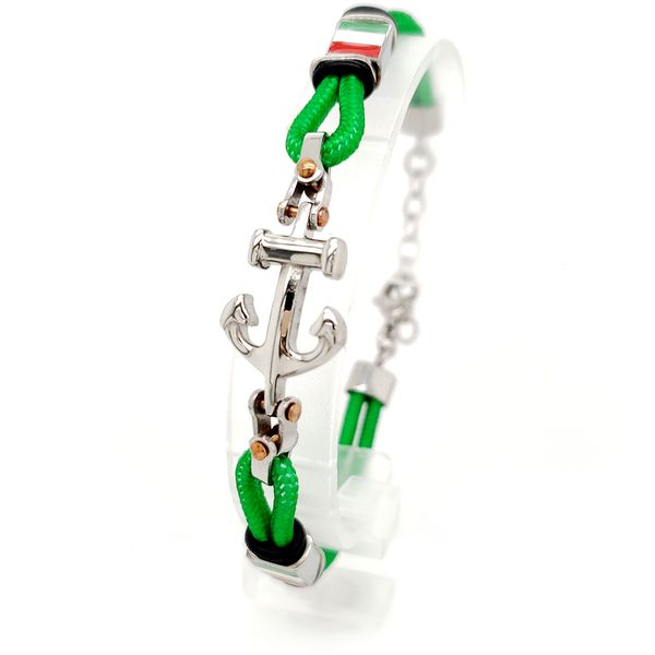 Steel Anchor Bracelet with Green Cord Arezzo Jewelers Chicago, IL