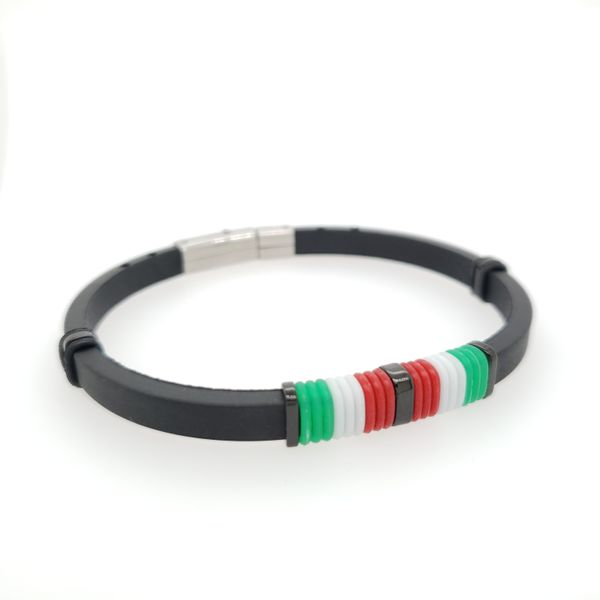 Italian Flag Rubber and Steel Bracelet Arezzo Jewelers Chicago, IL