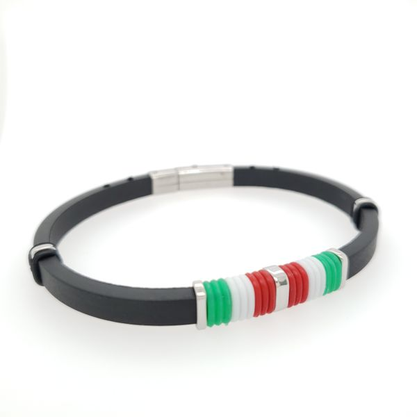 Italian Flag Steel and Rubber Bracelet Arezzo Jewelers Chicago, IL
