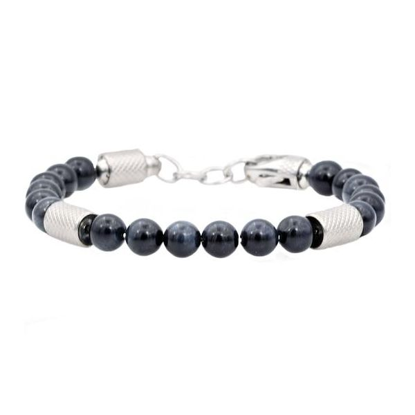 Blue Tiger Eye Stainless Steel Beaded Bracelet Arezzo Jewelers Elmwood Park, IL
