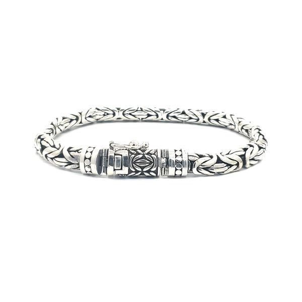 Antique, High Polished Italian Silver Men's Bracelet Image 2 Arezzo Jewelers Chicago, IL