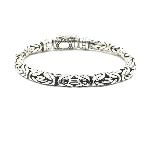 Antique, High Polished Italian Silver Men's Bracelet Arezzo Jewelers Chicago, IL