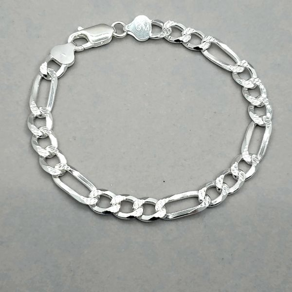Silver 7.5mm Reversible Figaro Link Bracelet Image 2 Arezzo Jewelers Chicago, IL
