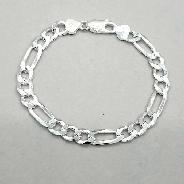 Silver 7.5mm Reversible Figaro Link Bracelet Arezzo Jewelers Chicago, IL
