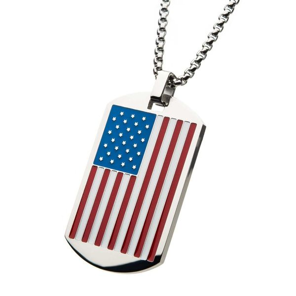 American Flag Enamel Dog Tag Pendant Image 2 Arezzo Jewelers Chicago, IL